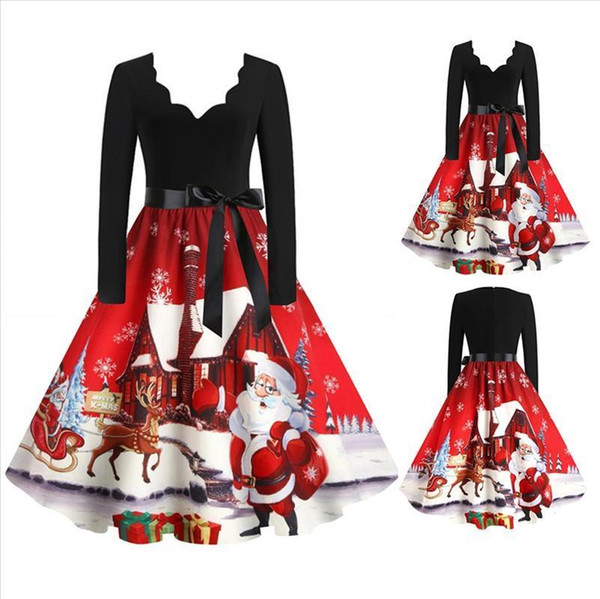 #R40 Santa Claus Print Christmas Dress Women New Year Vintage Xmas Dress V Neck Long Sleeve Evening Party Sewing Dress Plus Size