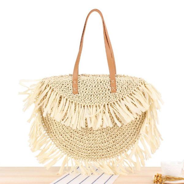 special new straw bag tassel women woven beach tote handbag hobo weave shoulder bag purse (599547710) photo