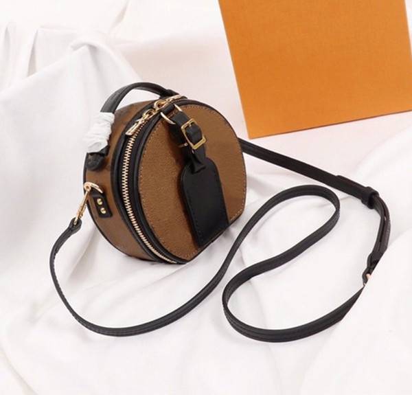 crossbody l flower ladies purse bag boite chapeaux woman handbag purse round style women fashion totes genuine leather shoulder purse (599311353) photo