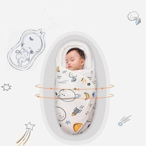0-2m Newborn Baby Cotton Blanket Swaddle Boy Space Dinosaur Blankets Toddler Sleeping Bags Sleep Sack Little Baby Stroller Wrap Y201009