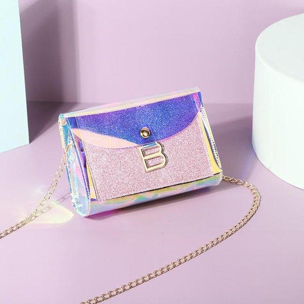 luxury designer women shoulder bags 2020 new laser b buckle chain small square bag pvc mobile phone coin purse messenger bag (600838010) photo