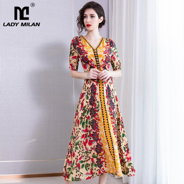 100% Silk Women's Dresses V Neck Short Sleeves Printed Floral High Quality Fashion Casual Mid Long Dresses