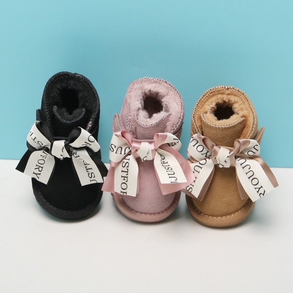 12-15.5cm Brand Children's Snow Girls Claladoudou Warm Plush Fringe Boots Baby Shoes Bow Knot Genuine Leather Boot Toddler