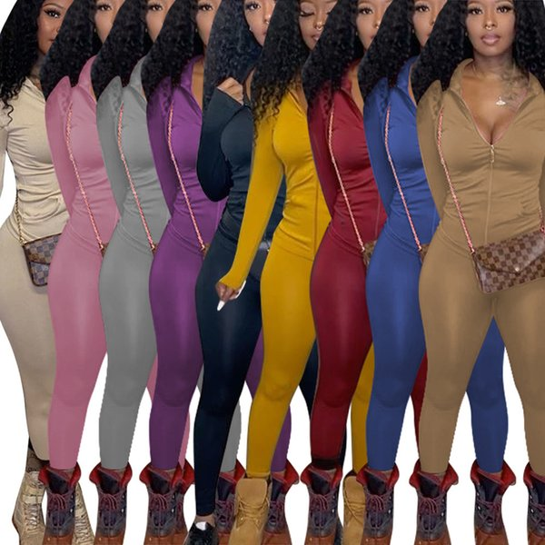 Women Tracksuits Two Pieces Set Designer Fall Winter Solid Color Long Sleeve Hooded Jacket Pants Outfits Ladies New Fashion Casual Sportwear