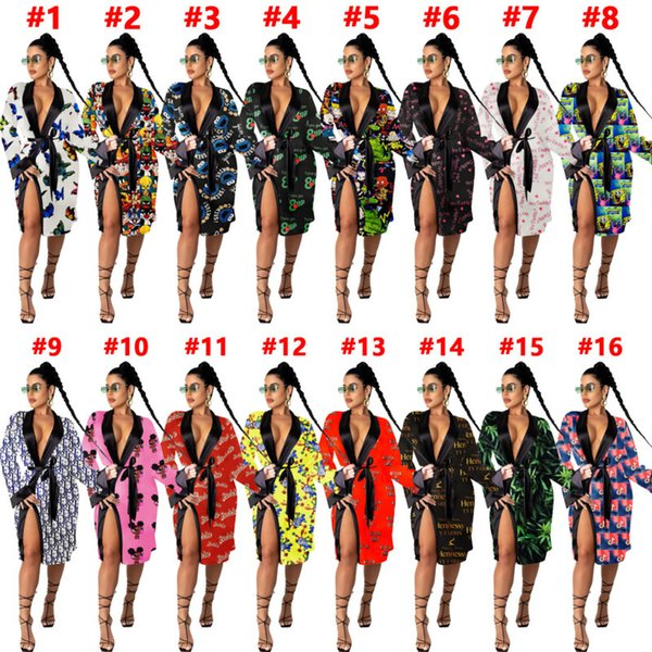 Ladies Sleepwear Sexy Looseand Casual Pajamas Nightgowns Women Home Dress Robes Multicolor Printing Bathrobes Lingerie Hot Sale 2020