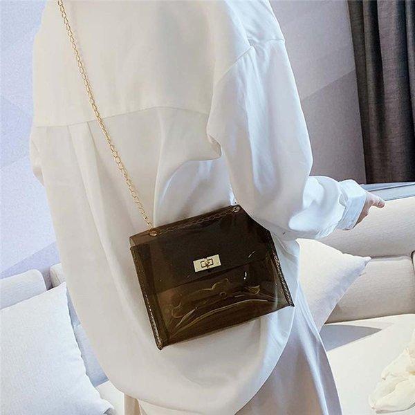 women clear transparent shoulder bag pvc cute candy color jelly bags purse girl solid handbags messenger crossbody hand bag #40 (598094743) photo