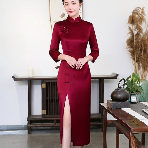 EeT2O new 2019 wine Wedding cheongsam cheongsamred mother dress cheongsam long autumn dress winter wedding 2001 TCqLB