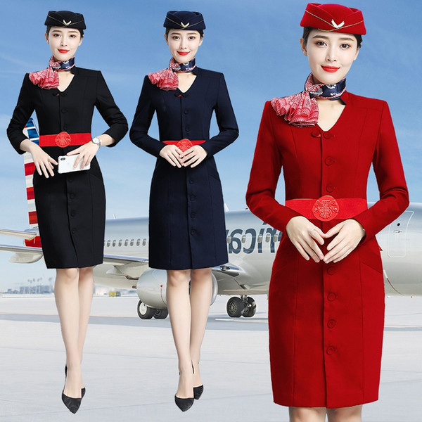 China Eastern Airlines stewardess dress beauty salon Jewelry Store clothesBeauty work clothes Etiquette welcome work clothes long sleeves au