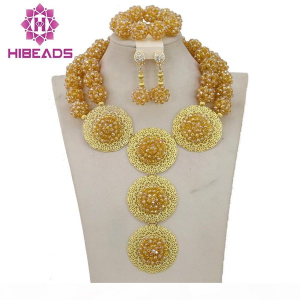 2017 Dubai Gold Jewelry Set African Bridal Beads Balls Crystal Jewelry Set Women Free Shipping WB007