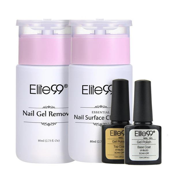 (4PCS)Elite99 Top Coat Base Coat + Nail Surface Cleanser 80ML Nail Gel Remover 80mlSoak Off UV LED Gel Polish Manicure Kit