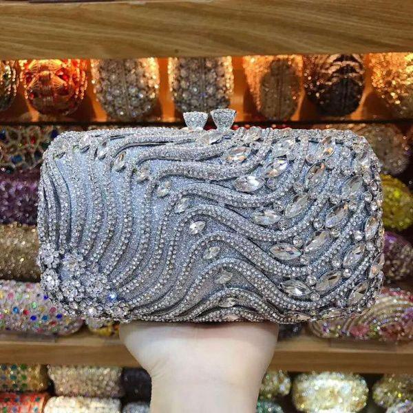 xiyuan small evening party bridal wedding party wallet purses elegant silver gold purses women wallet luxury big crystal clutch (595612532) photo