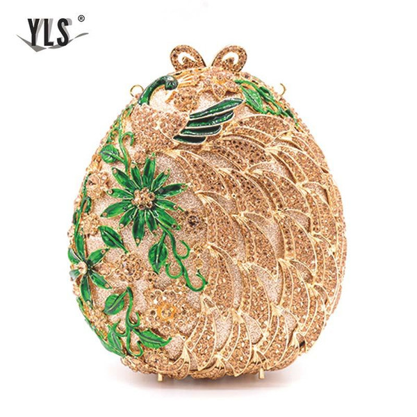 gold ball crystal clutches flower design small evening purses wedding/special occasion clutch/evening handbags clutches (595363801) photo