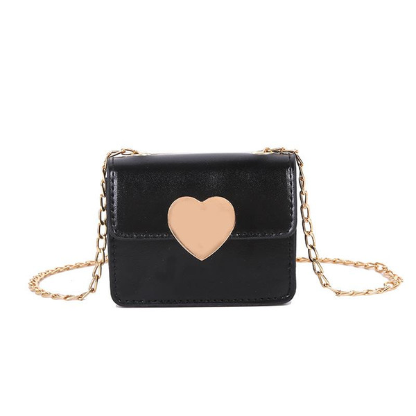 women mini crossbody purse, elegant pu leather shoulder bag with heart snap chain strap (600437441) photo