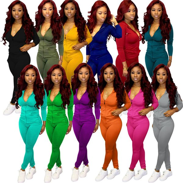 Women designer sweatsuits two piece sets hooded jacket pants S-2XL solid color Tee Tops Legging outfits fall winter clothes Jogger suit 3769