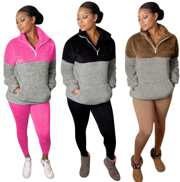 Womens Designer 2 Piece Pants Tracksuits Zip Neck Panelled Sports Loungewear Long Sleeve Pullover Slim Tops Coral Fleece Bodycon Long Pants