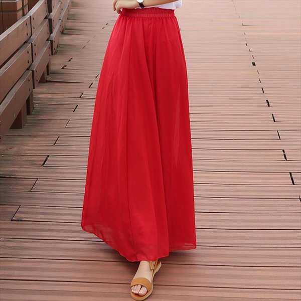 16 colors Women Chiffon Long Skirt 2019 bohemian long skirt stretch high waist A word skirt casual pleated Saias