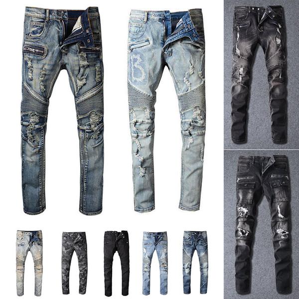 2021 Mens Designer Jeans Distressed Ripped Biker Slim Fit Motorcycle Biker Denim For Men s Fashion Mans Black Pants 20ss pour hommes