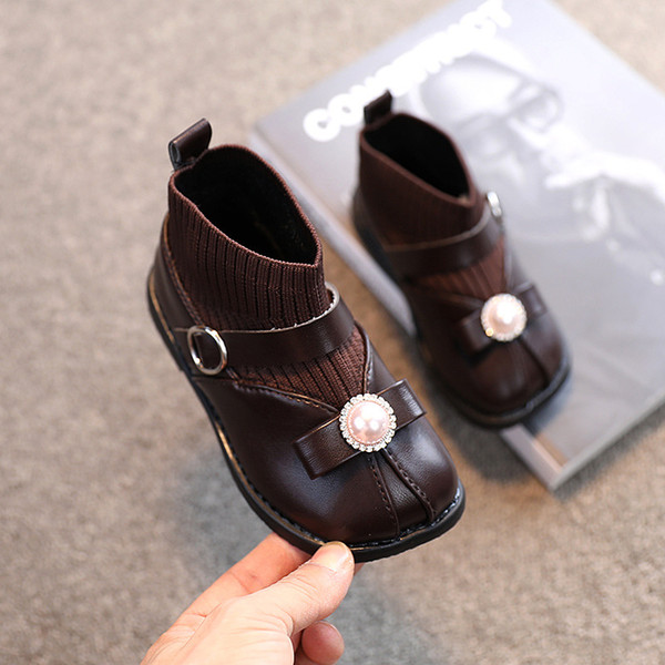 1-6 Years Fashion Bow Children'S Autumn Ankle Sock Leather Kids Winter For Baby Girl Sports Shoes Warm Boots