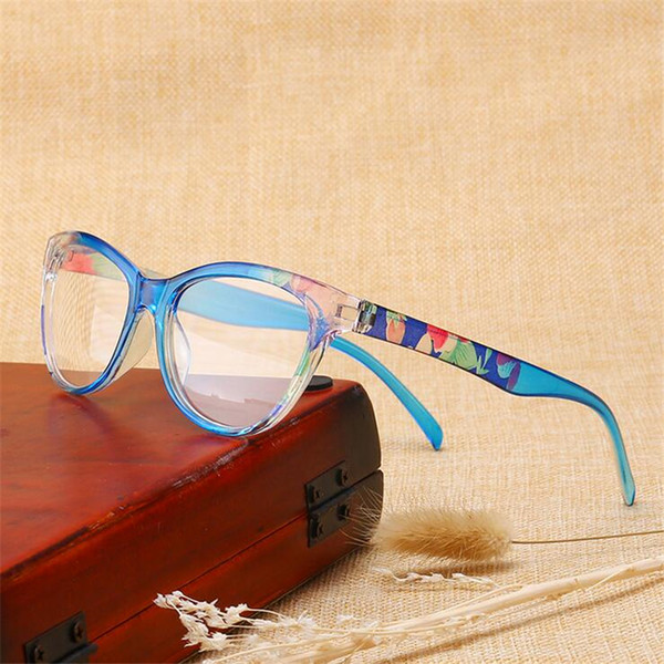 +1.5 +2.0 To +4.0 Cat Eye +1.0 Magnifie Sight Retro Tea/Red/Blue Frame Diopter Glasses For Elderly Lentes de lectura