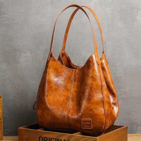 casual women handbag purse large capacity tote bag lady bag vintage hobo soft patchwork shoulder brown (591332584) photo