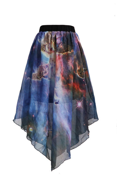2015 the newest women's clothing summer style 3D printed galaxy chiffon sexy skirt Lotus leaf edge high quality high waist skirt
