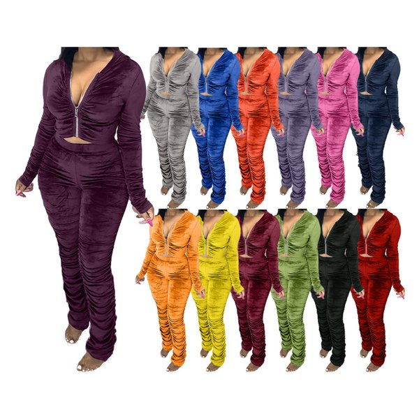2020 Women Clothing Two Piece Set Fashion Velvet Pleated Zipper Long Sleeve Jacket Trousers Outfits Ladies Solid Plus Size Casual Suit
