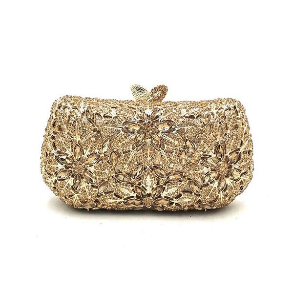 elegant women evening party handbag diamonds luxury clutches ladies designer flower crystal purses bridal wedding party purses (595612617) photo