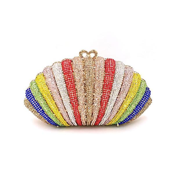 women evening party handbag diamonds elegant purses luxury clutches bridal wedding party shell wallet rainbow crystal purses bag (595363780) photo