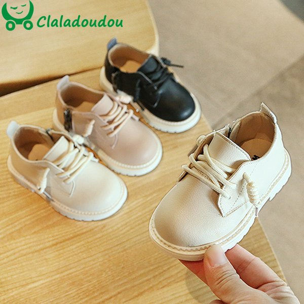 11.5-15.5cm Girls Boys Shoes Spring Autumn PU Leather Children Fashion Toddler Kids Pure Zip Ankle Boots
