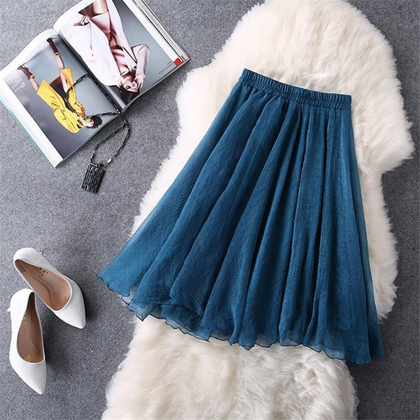 2016 New Spring Summer Tulle Skirts Women Faldas High Waist Midi Knee Length Chiffon Elastic Waist Grunge Female Tutu Skirts