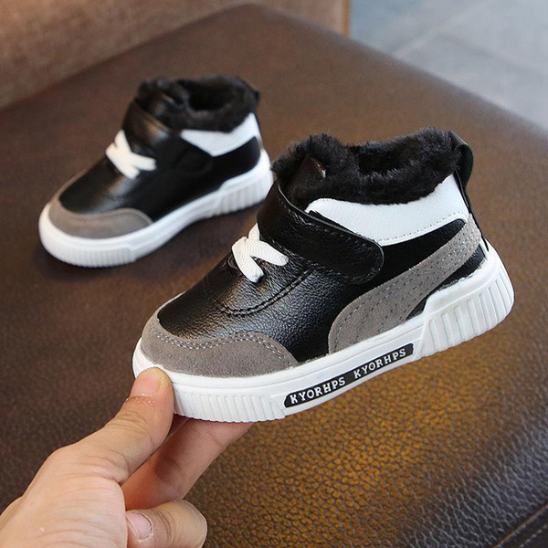 1-7 Years 2020 New Fashion Winter Baby Casual Shoes Kids Autumn Boy Sneakers Shoe Toddler Pu Leather Children Shoe Black White