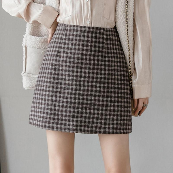 2 Colors New Autumn Casual Women Skirt Retro High Waist Plaid Skirts Female Zipper Mini Woolen Bag Hip Skirt Mujer