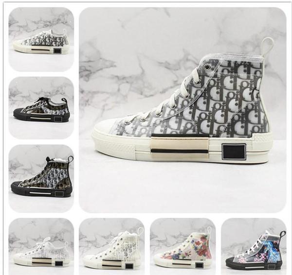 New High-Top Flowers Technical B23 Mens Designer Sneaker Womens Fashion Luxury B22 B23 B24 Oblique Transparent White Black CD Casual Shoes