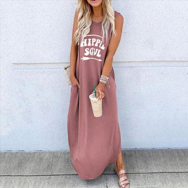 #Z20 Summer Dress Women's Bohemian Sundress 2020 Sleeveless Letter Printed Maxi Long Dress Casual Loose Party Tanks Vestido