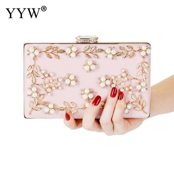 pink plastic pearl leaf pattern women evening envelope handbag party bridal clutch purse ladies wedding bridal handbag purse (595612587) photo