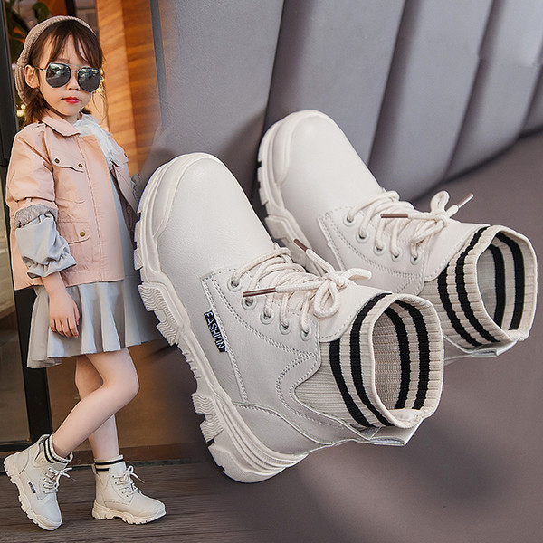 -Children shoes for girls boys kids winter female padded boots warm plush black beige 5-12 years size 27-38 809