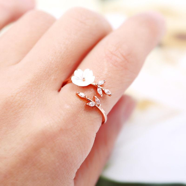 1 PCS Copper New Flower Leaf Zircon Open Adjustable Finger Wedding Rings For Women Rose Gold Color Vintage Jewelry Accessories