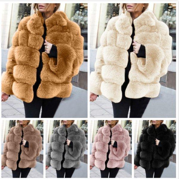 Women Winter Artificial Fur Coat Fashion Long Sleeve Faux Fur Thick Coats Jacket Party Multicolor Overcoat Plus Size Ladies Clothing