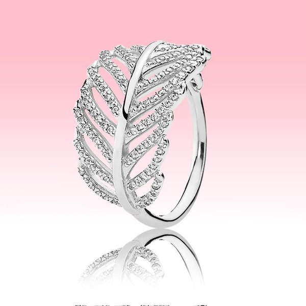 100% 925 Sterling Silver RING Women Grils summer Jewelry for Pandora Light Feather ring with Original retail box