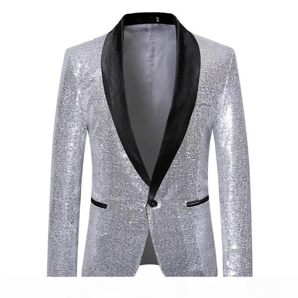 Mens Shawl Lapel Blazer 2019 Fashion Sliver Sequin Suit Jacket Men Punk DJ Club Stage Singer Clothes Party Wedding Suit for Men