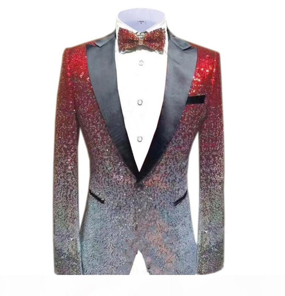 Red Silver Men's suit Fashion Green Jacket Blazer Prom Party Dinner Tuxedo Performance Jacket For Stage Wedding Shiny Costume