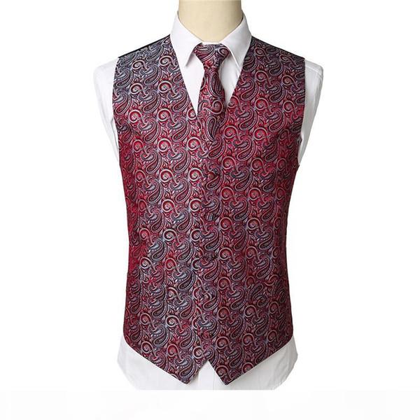 Wine Red Paisley Tuxedo Vest Set Party Wedding Waistcoat Vest Handkerchief Necktie Floral Jacquard Pocket Square Tie Suit Set