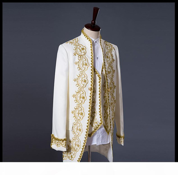 Prince Gold Embroidery Blazer Suit Wedding Groom Jacket Coat Blazer Jacket wedding tuxedos men's suits coat+vest+pant