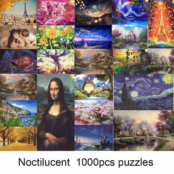 1000 Pieces Puzzle Kids Jigsaw Puzzles Noctilucent Educational Toys For Children Fluorescent Puzzles Y200421