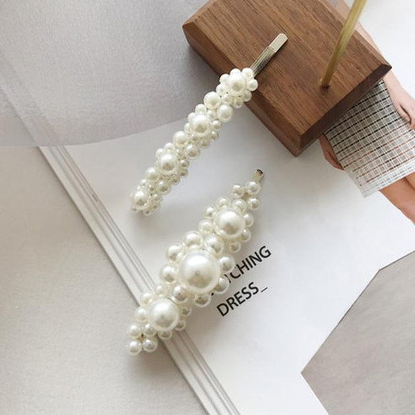 1pc 2pcs New Vintage Women Pearl Hair Clip Snap Hair Barrette Stick Hairpin For Women Girl Wedding Hair Accessories Pins Z2 Swy wmtkYd