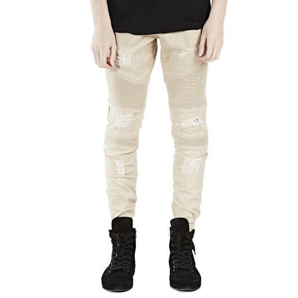 Pantalon Homme Slim New Ripped Jean Homme Fashion Pantalones Hip Hop Hombre Pleated Tejanos De Hombre Skinny Biker Jeans Men