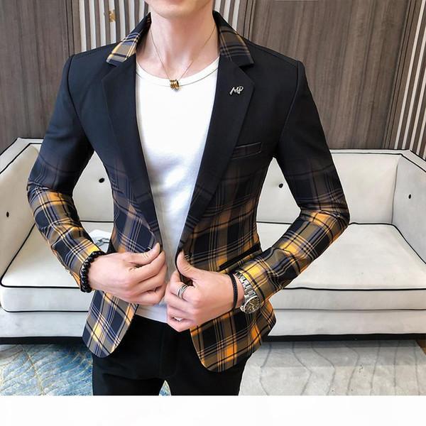 Fancy Plaid Gradient Blazer Men Yellow Red Wedding Dress 2020 Blazer Slim Fit Single Button Fashion Suit Jacket Men
