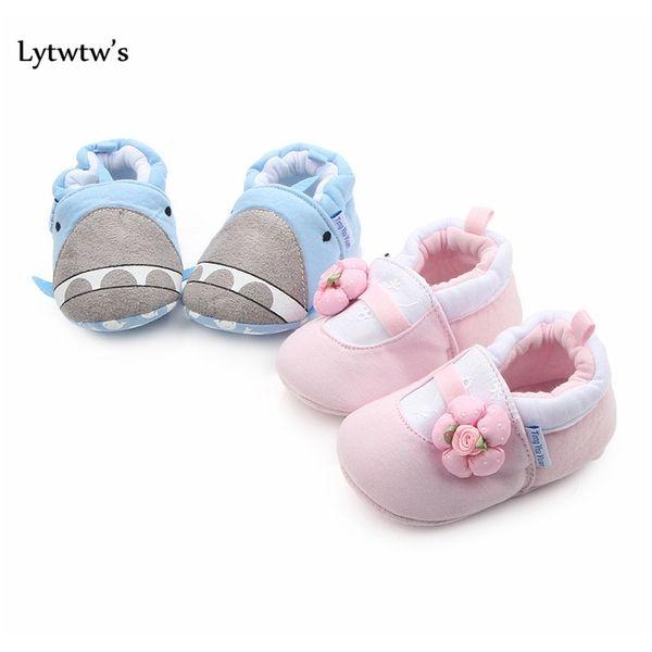 1 Pairs Lytwtw's Kids Girls Boys First Walkers Newborn Kawaii Animals Shark Canvas Baby Toddlers Shoes Children F bbyggV