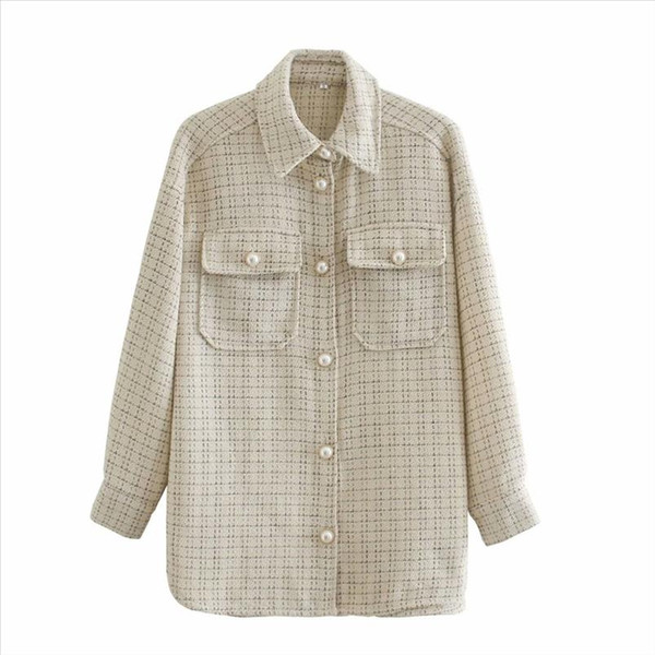 2020 Fall Womens New Lapel Long Sleeve Tweed Small Fragrant Style Jewelry Button Jacket Fashion Beige Plaid Shirt