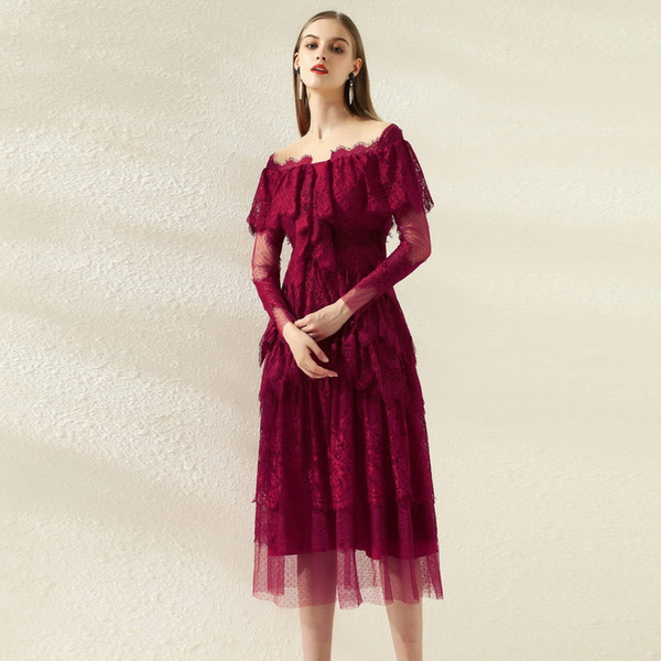 1013 XL 2020 Free Shipping Autumn A Line Same Style Dress Womens Clothes Long Sleeve Red Lace SH